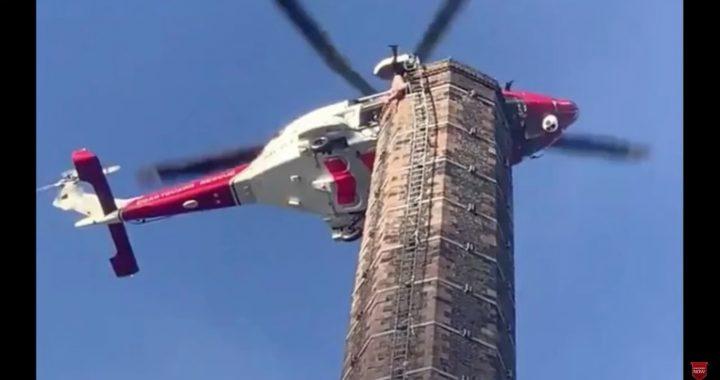 Przez 14 godzin zwisał z 80-metrowego komina! Akcja ratunkowa zakończyła się (…)!