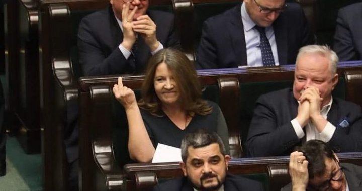 Posłanka Lichocka pokazała środkowy palec! TERAZ SIĘ TŁUMACZY [VIDEO]